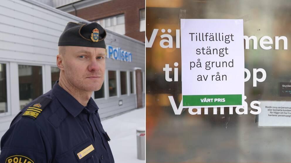 """En polisman intervjuas utanför polishuset. Till höger en bild från butiken som rånats med skylt som säger """"tillfälligt stängt på grund av rån"""""""
