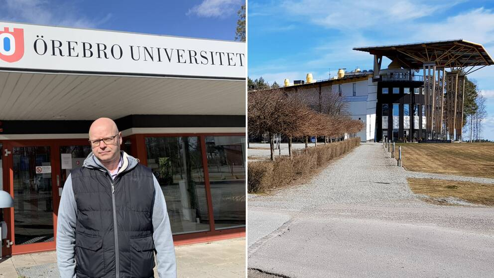 Stefan Vänström universitetslektor vid Örebro universitets campus i Grythyttantill vänster och Måltidens hus till höger