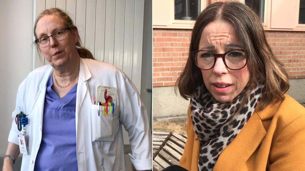 Till vänster en bild på läkarföreningens ordförande Cecilia Nordenson i vit läkarrock med pennor mm i fickan. Till höger Jenny Olsson, vårdförbundets ordförande i kappa utomhus. Bägge är verksamma i Västerbotten.