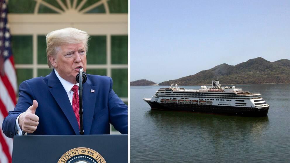 Donald Trump lovar försöka hjälpa MS Zaandam. På bilden syns fartyget utanför Panama City där det inte fick ta i land.