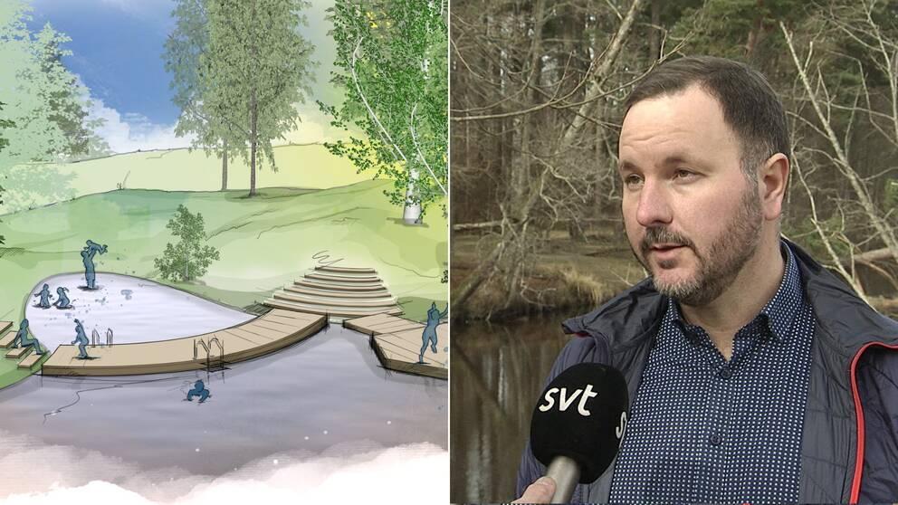 Arkitektbild på ny badplats i Svartån och intervjubild med Gustav Axberg.