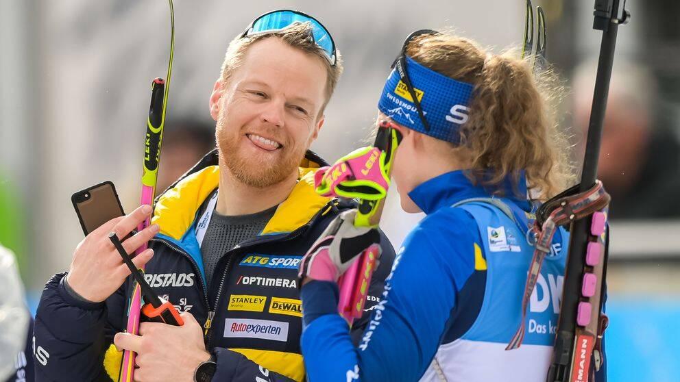 Anders Byström tillsammans med Hanna Öberg under den gångna säsongen.
