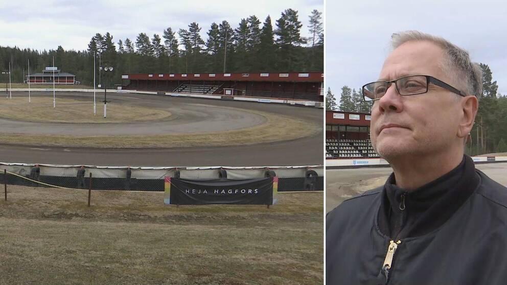 Två bilder. En på speedwayarenan Tallhult och en på Dick Gulbransgård.
