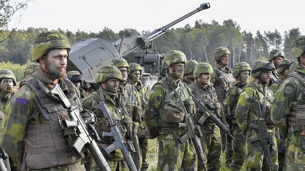 Försvarsmaktens artilleripjäs Archer visas upp i samband med militärövningen Aurora 17. Arkivbild.