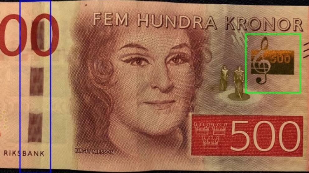 Äkta 500-kronorssedel.