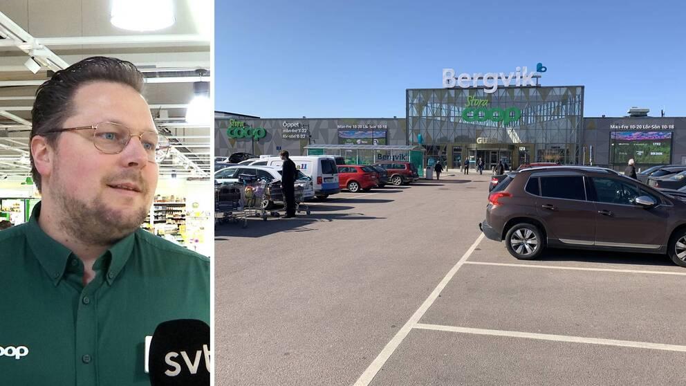Två bilder. Till vänster ett porträtt på Martin Hagström. Till höger en bild på Stora Coop Bergvik med parkeringsplatser i förgrunden.