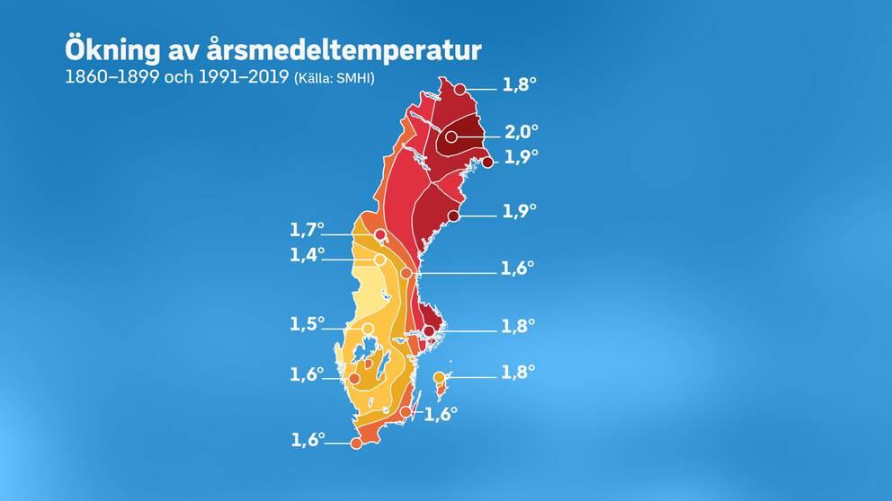 Ökningen av årsmedeltemperaturen i Sverige.