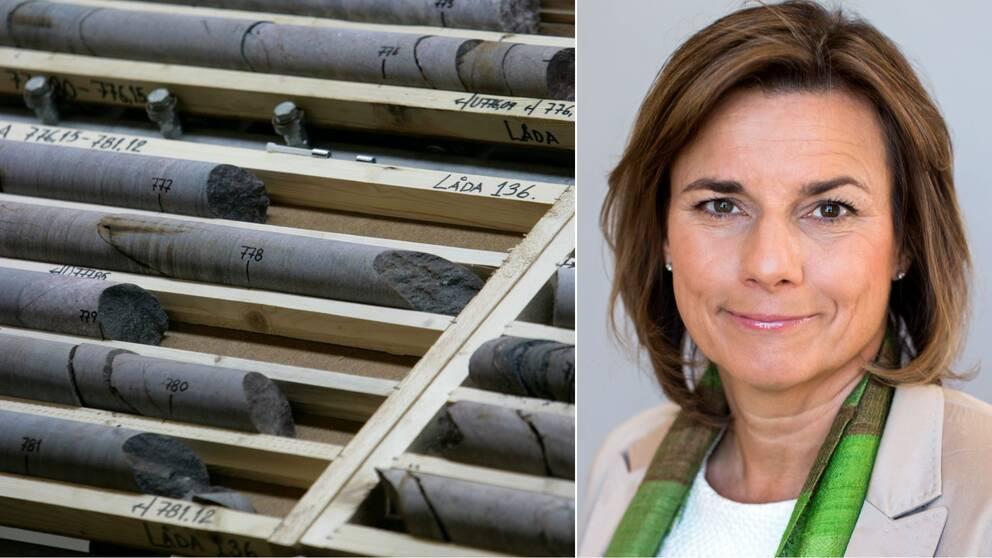 Bild på borrkärnor ur berg som ligger i trälådor. Porträttbild på kvinna med brunt hår och bruna ögon med ljus kavaj och grön scarf.