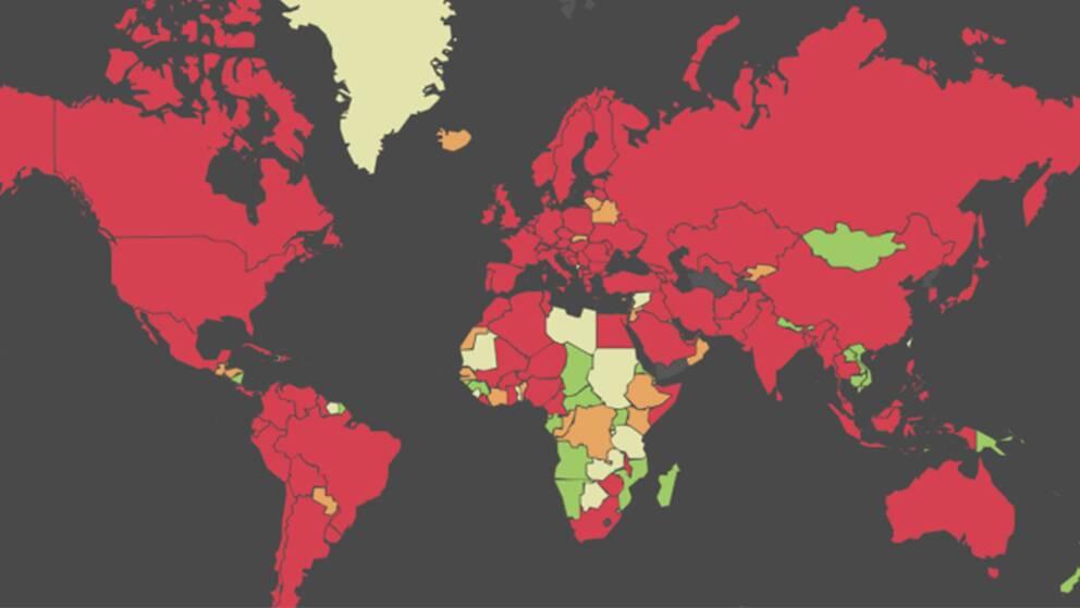Utforska SVT:s grafik över hur smittoläget är i Sverige och resten av världen