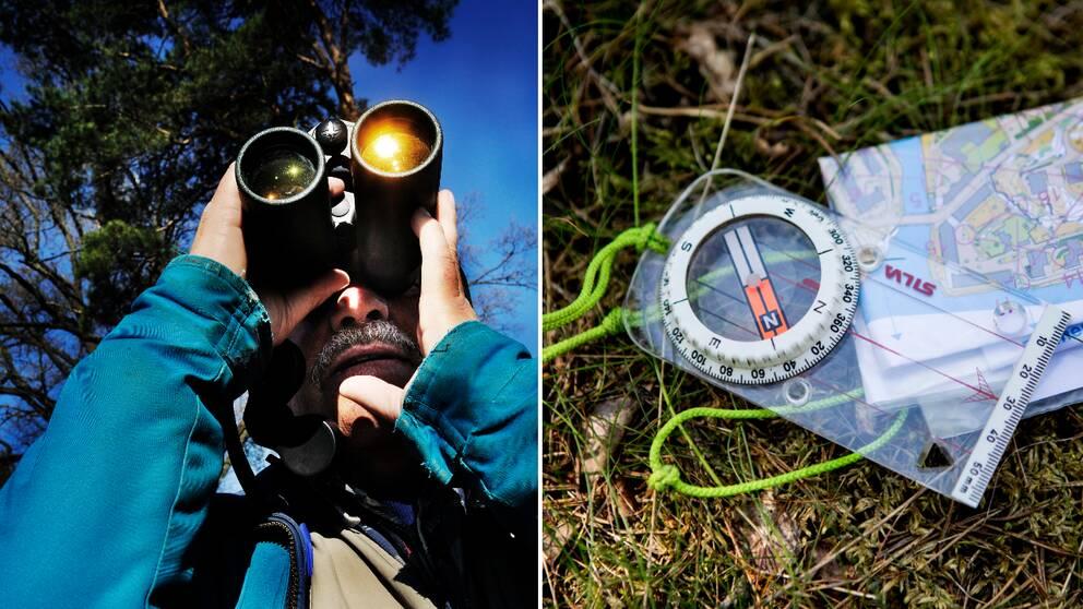 Fågelskådare med kikare bredvid kompass och karta.