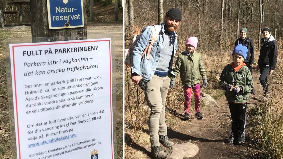 Några som besöker Åkulla bokskogar under påsken är Olle Borgman, Ida Persson och deras tre barn Betty, Kliff, Lily.