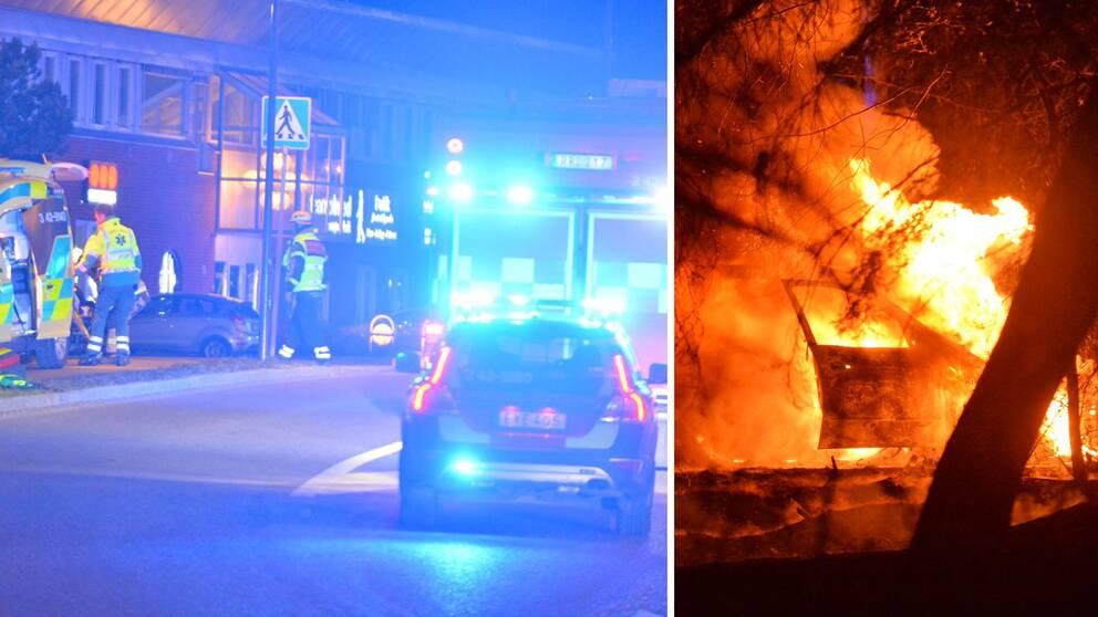 Till vänster: polis och ambulans på plats på Koppargatan i Norrköping där skottlossningen skedde. Till höger: den brinnande bilen i Åby som tros ha ett samband med brottet.
