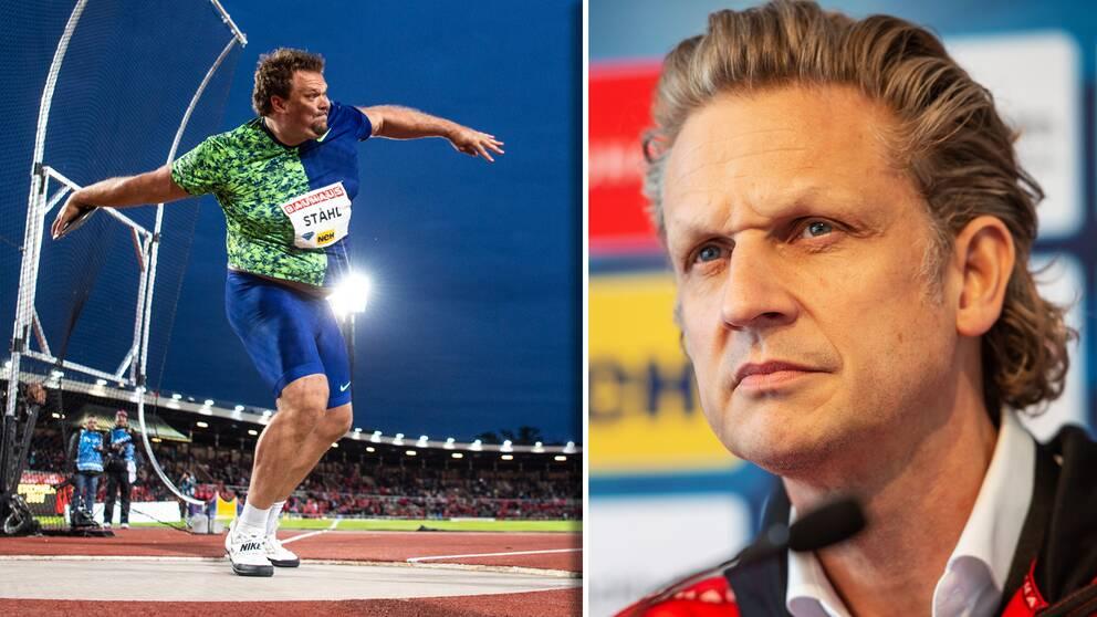 Vänster: Daniel Ståhl under Bauhaus-galan förra året. Höger: Tävlingsdirektör Jan Kowalski.