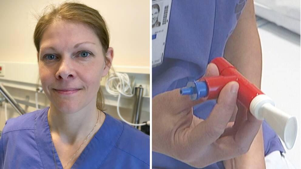 Fysioterapeuten Katrina Dahlin visar en såkallad peppipa som covid-19 patienter använder för att andningsträna.