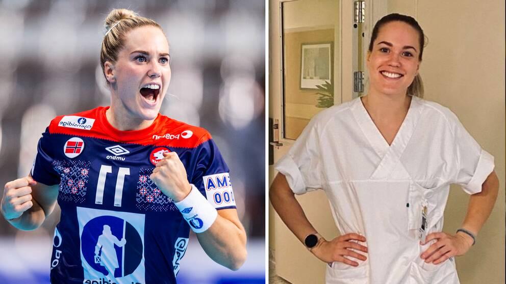 Norska handbollsproffset Malin Aune, till vänster på VM i december förra året och till höger på sjukhuset där hon hjälper till.
