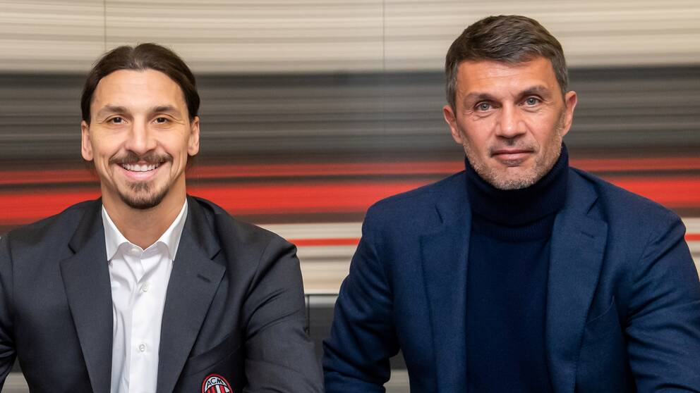 Legendaren Paolo Maldini tillsammans med Zlatan Ibrahimovic när han anslöt till Milan i januari.