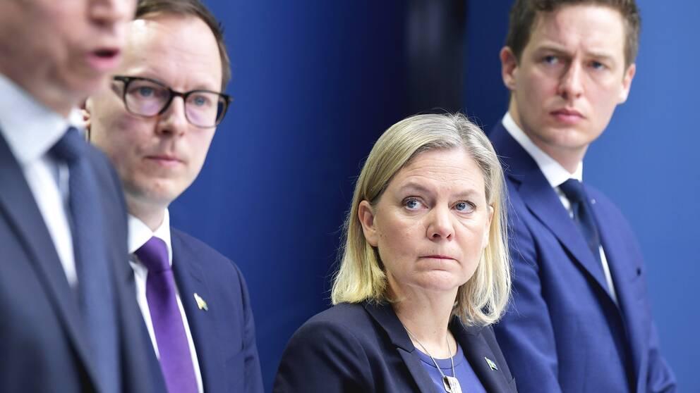 Finansmarknadsminister Per Bolund (MP), Mats Persson, ekonomisk-politisk talesperson för L, finansminister Magdalena Andersson (S) och Emil Källström, ekonomisk-politisk talesperson för C.