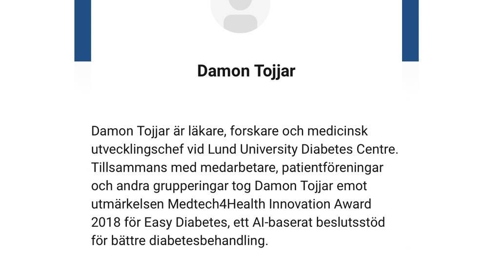 Skärmdump av Damon Tojjars biografi inför Vitalis konferens i maj 2020.