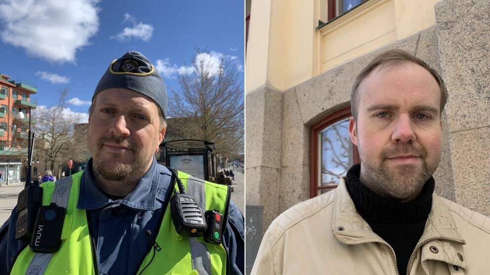 Tobias Silverlo ordningsvakt till vänster och John Johansson från socialdemokraterna till höger