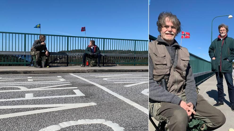Två män sitter på varsin sida en vitmålad linje