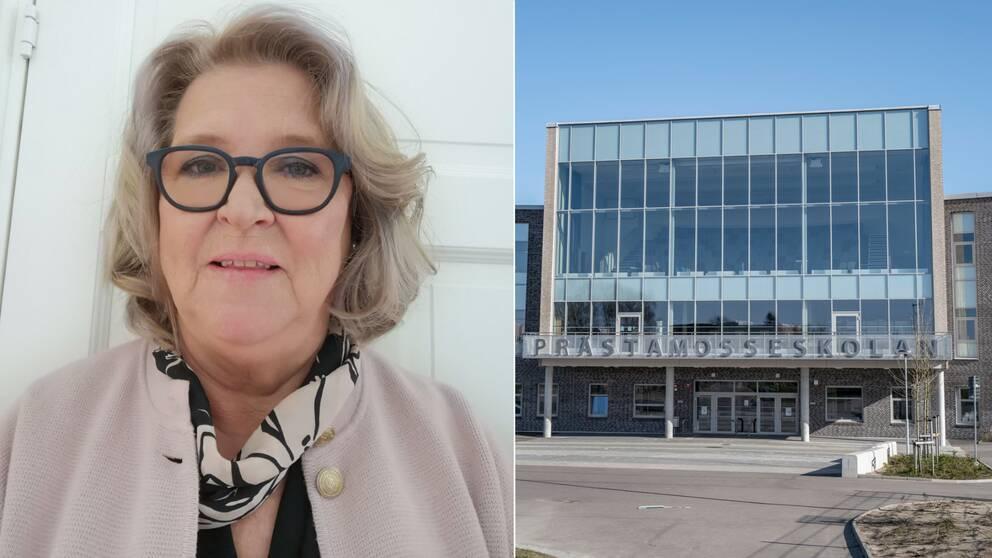 Profilbild på Kärsti Öberg och en bild på Prästamosseskolan i Skurup.