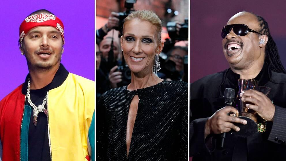 Celine Dion, J Balvin och Stevie Wonder