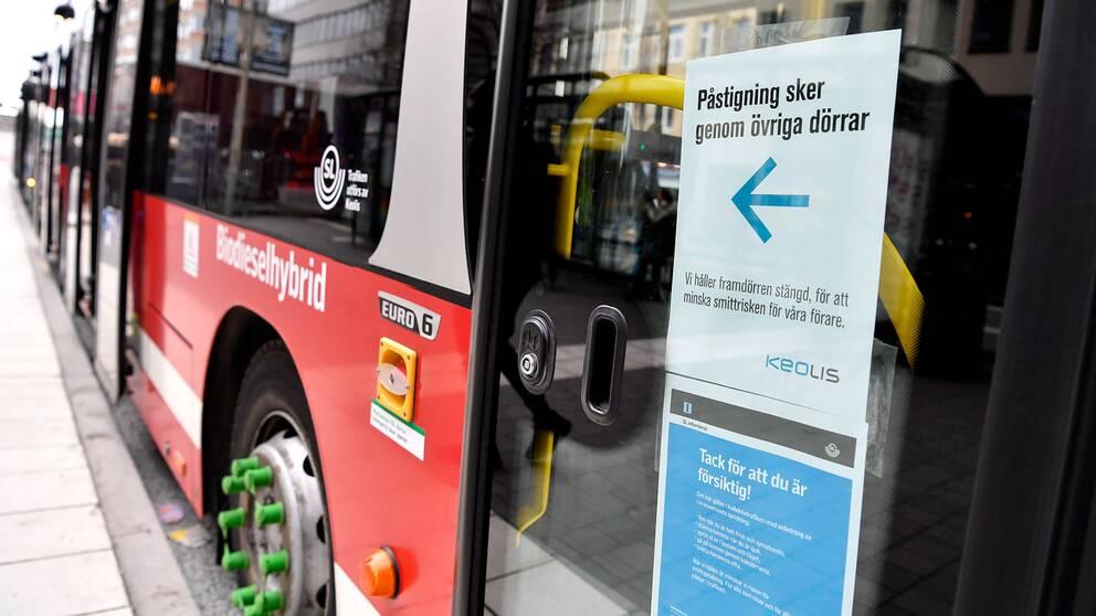 Busspåstigning förbjuden i Stockholm