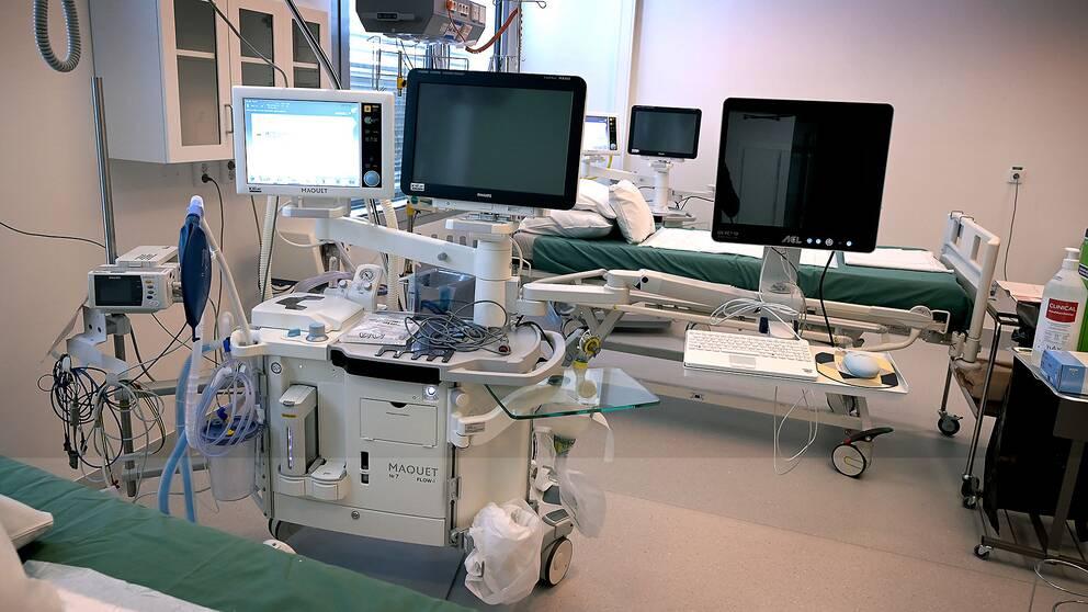 Tillfälliga intensivvårdsplatser på Karolinska Universitetssjukhuset i Huddinge.
