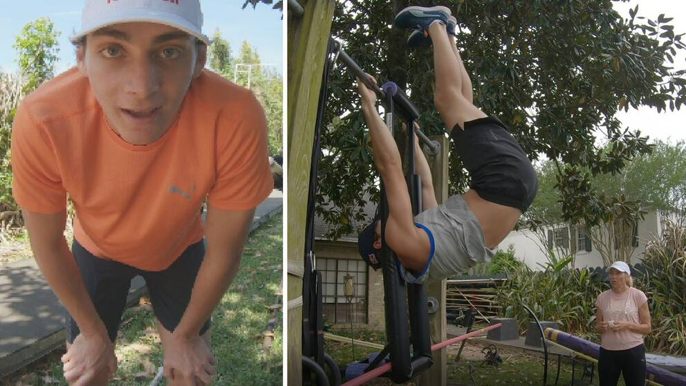 Armand Duplantis och mamma Helena tränar på så gott det går i trädgården.