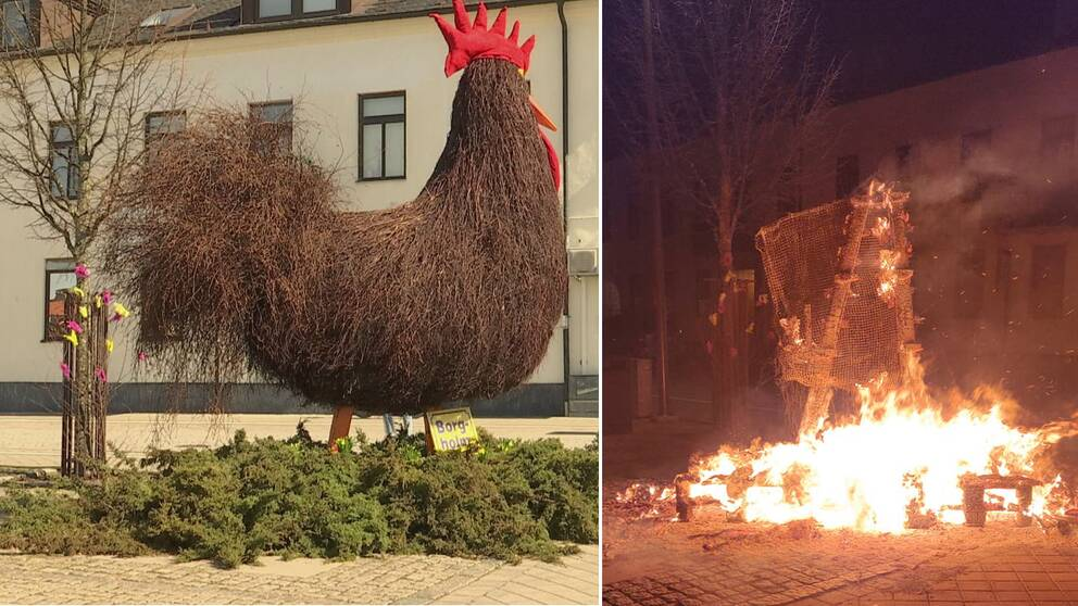 Den stora påsktuppen av sly och ris som prytt torget i Borgholm brändes ner under natten.