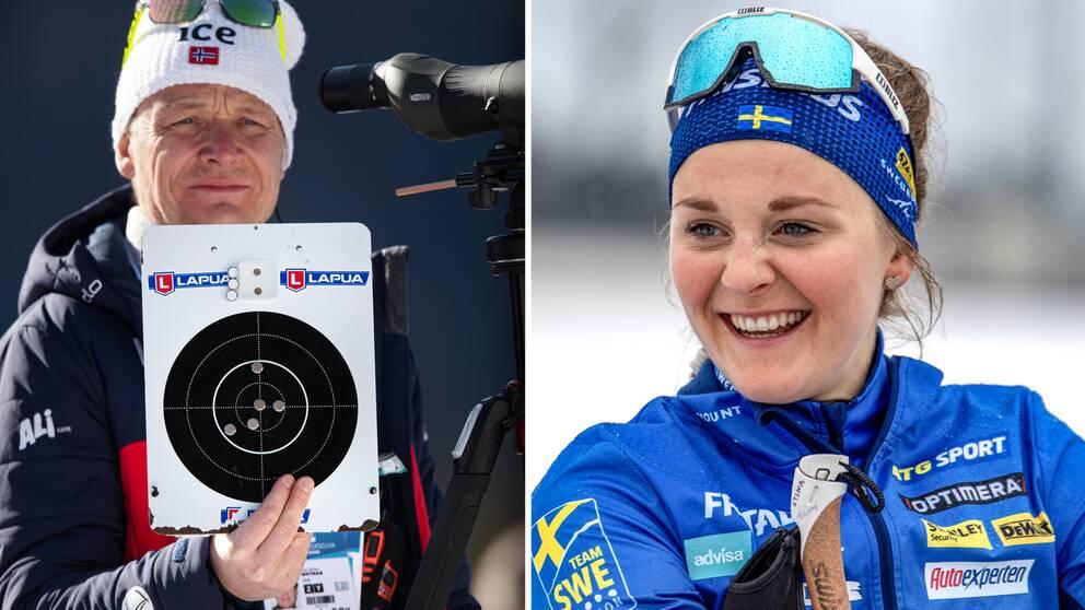 Norska skidskyttechefen Per Arne Botnan och Stina Nilsson.