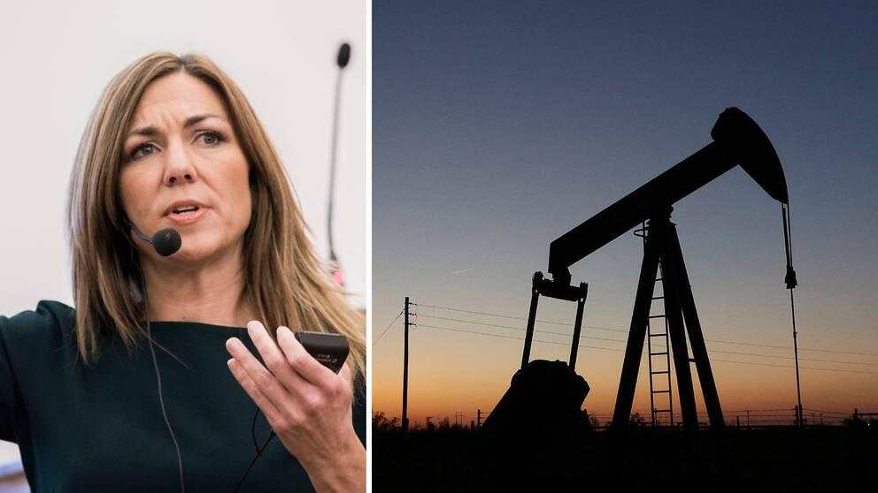 """""""Vi kan förväntas oss att oljepriset kan ligga på låga nivåer ett tag"""", säger Thina Saltvedt (t.v), oljeanalytiker på Nordea, till TT."""