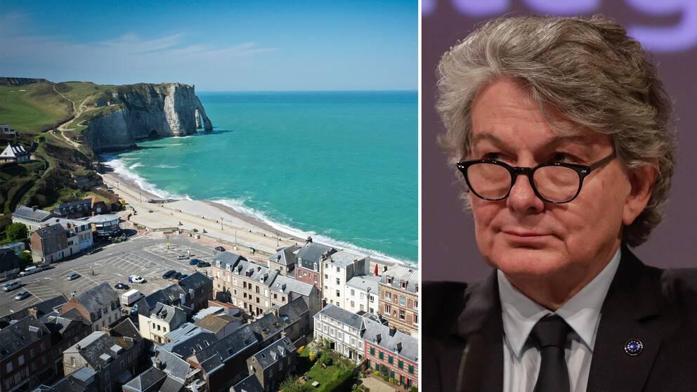 Inremarknadskommissionären Thierry Breton hoppas på Europasemestrar även under coronapandemin. Till vänster stränderna som gapar tomma i Frankrike.
