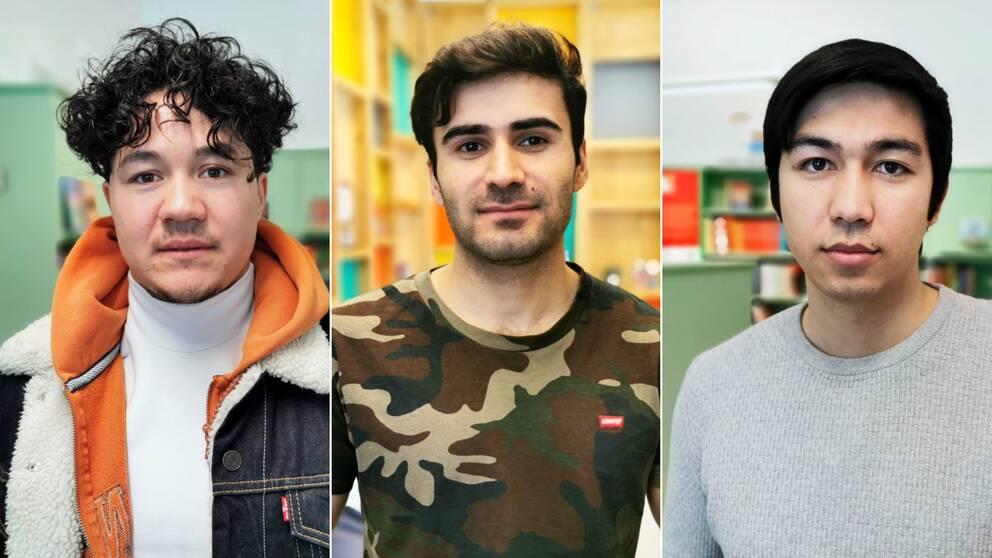 Montage på tre porträtt på Benjamin Noori, Nasrollah Taheri och Aref Mohseni.