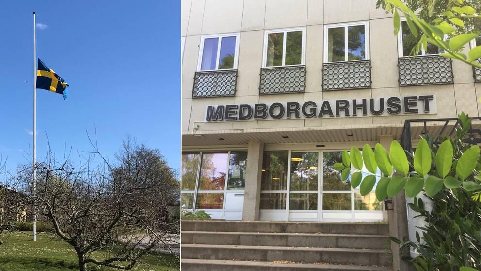 En bild på en flagga som flaggar på halv stång, och en bild på medborgarhuset i Burlöv.