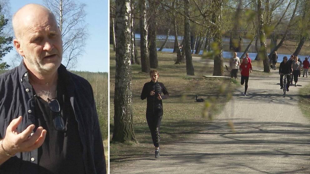 Två bilder. Till höger Carl-Gustaf Bornehag. Till vänster en bild med en joggare i förgrunden samt fler joggare och en cyklist i bakgrunden vid ett motionsspår i centrala Karlstad.