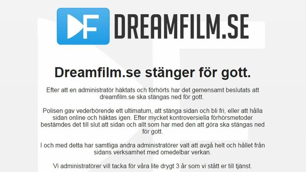 Ett meddelande om att sajten är nedstängd efter en polisinsats möter besökare på piratsajten Dreamfilm.