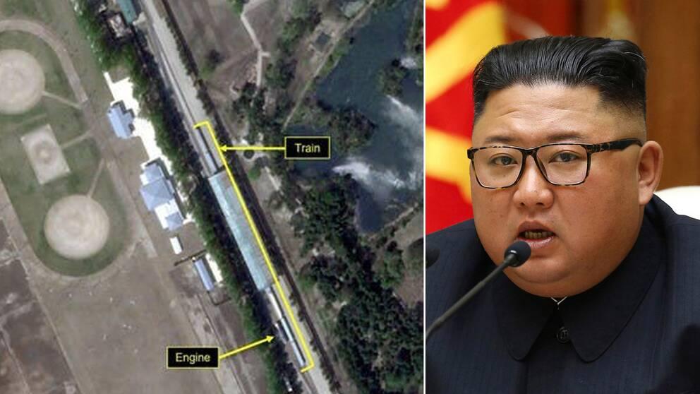 Till vänster en satellitbild som släppts av 38 North. Den tros visa Kim Jong-Un tåg i Wonsan på landets östkust.