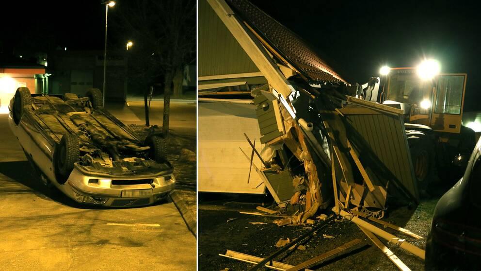 Mannen välte både en bil och körde sönder ett garage innan han stal en bil och flydde från polisen.