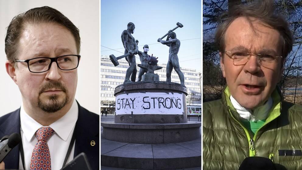 Till vänster Finlands hälsosäkerhetschef Mika Salminen. Till höger SVT:s utrikesreporter Hasse Svens
