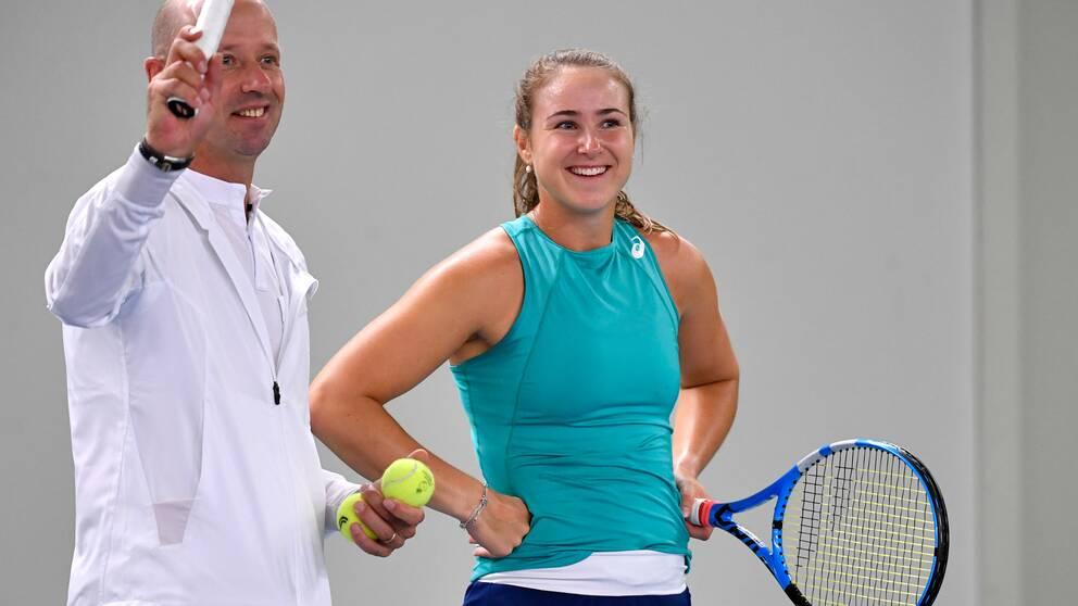 Sveriges bästa tennisspelare, 24-åriga Rebecca Peterson under ett träningspass i Stockholm i oktober.