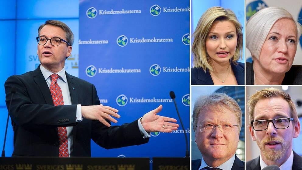 Göran Hägglund och några av de tänkta efterträdarna Ebba BuschThor, Acko Ankarberg, Lars Adaktusson och Jakob Forssmed.