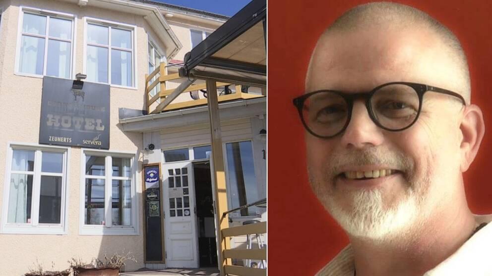 Husfasad till restaurang i Junsele till vänster. Bild på Thomas Östlund till höger, iklädd svarta glasögon framför en röd vägg.