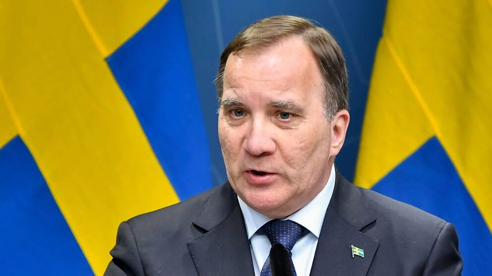 Stefan Löfven höll pressträff