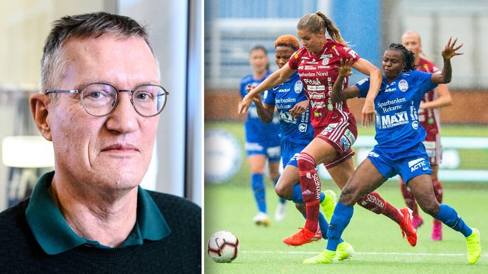 Vänster: Anders Tegnell. Höger: Närkamp under en damallsvensk match mellan Piteå och Eskilstuna.