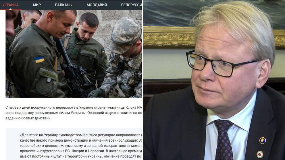 """I en artikel på en ryskspråkig sajt hängs tre svenskar med kopplingar till Försvarsmakten ut. Försvarsminister Peter Hultqvist (S) reagerar starkt på artikeln som han menar är """"Helt oacceptabelt""""."""