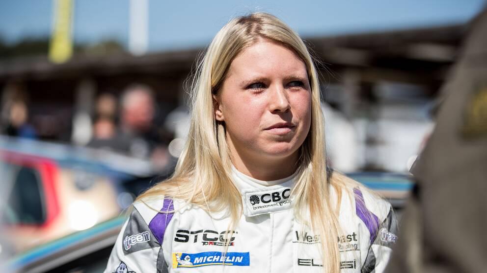 Jessica Bäckman under säsongspremiären av STCC 2018. Arkivbild.