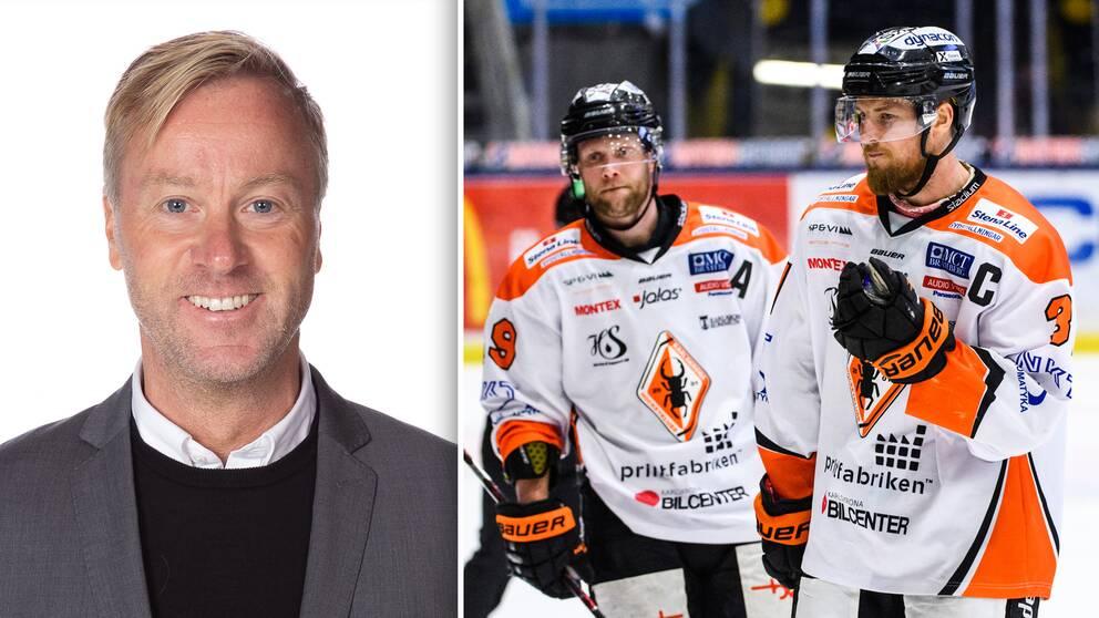 Vänster: Klubbchefen Per Rosenqvist. Höger: Karlskronas Niklas Johansson och Marcus Paulsson deppar efter en match 2019.