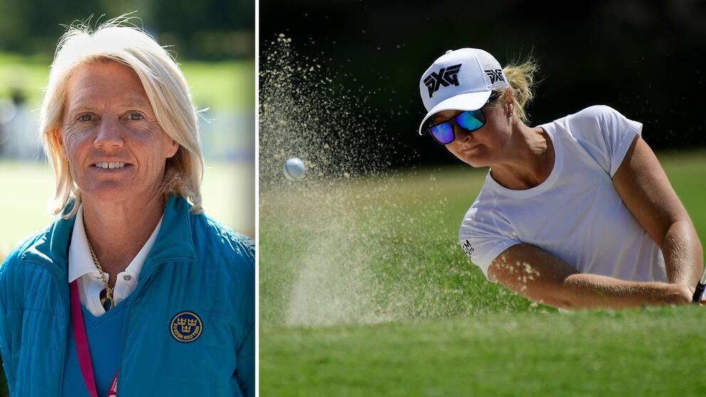 Förbundskapten Katarina Vangdal och golfstjärnan Anna Nordqvist.
