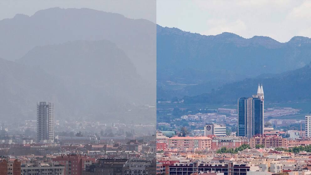Luften över staden Murcia i Spanien en dag innan utegångsföbudet trädde i kraft och en måndag senare.